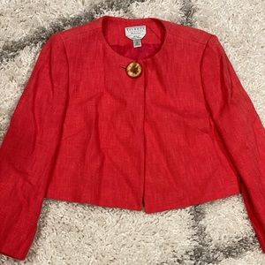 Talbots Coral Tweed Cropped Jacket - 10P